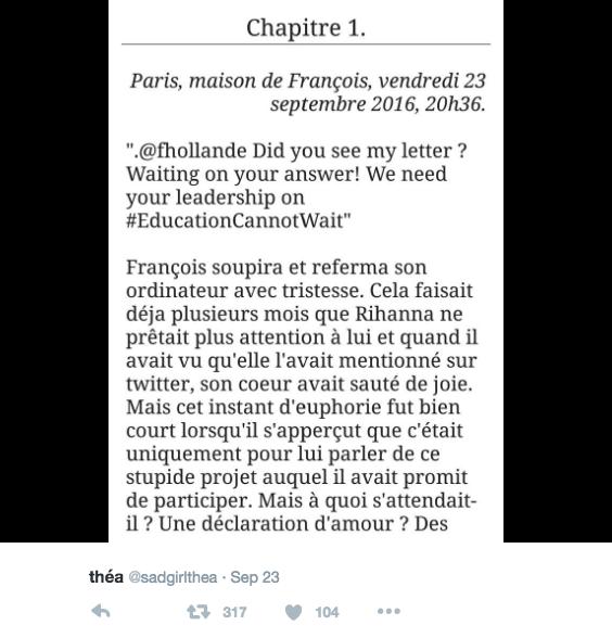Théa hat zunächst eine Reihe von Tweets mit Screenshots vom Anfang der Geschichte gepostet.