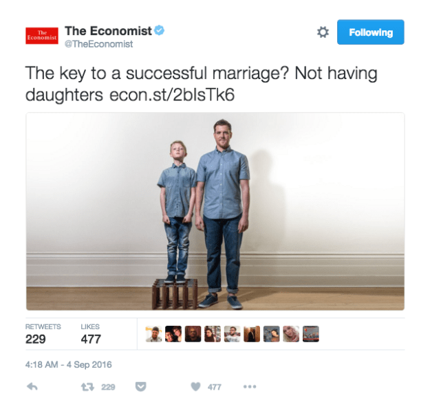 """But on Sunday, people became furious when the Economist tweeted this to promote the story: """"The key to a successful marriage? Not having daughters."""""""