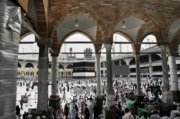 Arriving at Masjid al-Haram, the Grand Mosque, in Mecca.