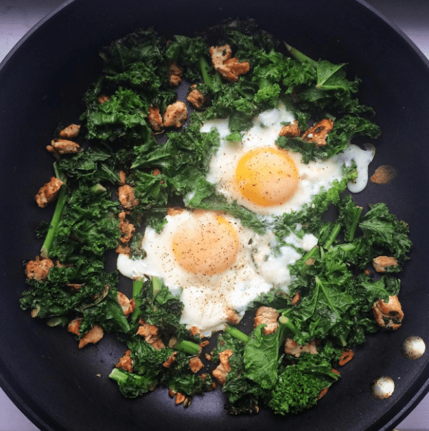 Skillet-Fried Eggs With Ground Beef and Kale