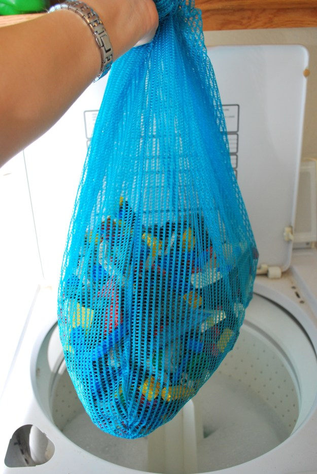 Toss your kids' Legos in the washing machine (enclosed in a mesh bag).