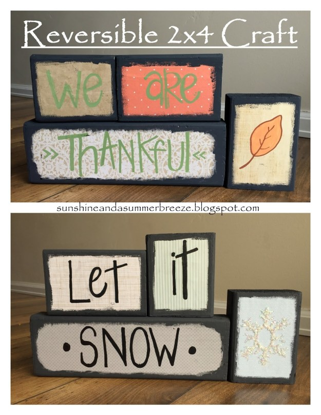 Paint your scraps differently on each side to make reversible holiday decor that can stay up from November through January.
