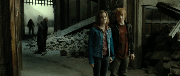 "And, GREAT NEWS! The entrire ""19 Years Later"" scene is cut, instead ending on Harry reuniting with a loved-up Ron and Hermione after the battle."
