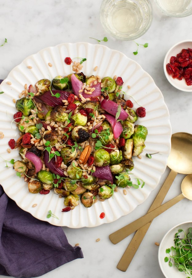 Maple-Balsamic Roasted Brussels Sprouts with Farro