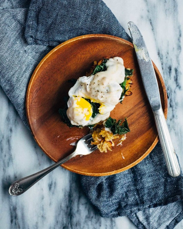 Kale Eggs Florentine over Muffin Tin Hash Browns