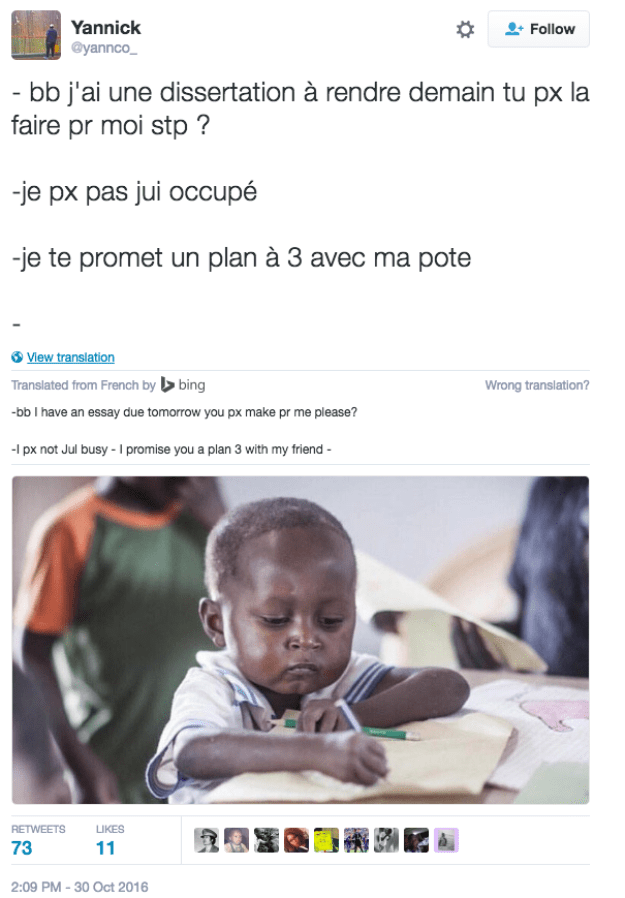 The meme reached French Twitter.