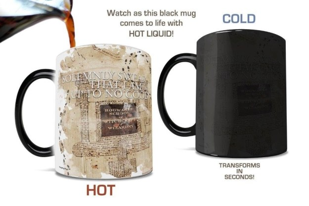 A Marauder's Map mug that transforms when hot liquid is poured inside. Mischief managed, am I right?