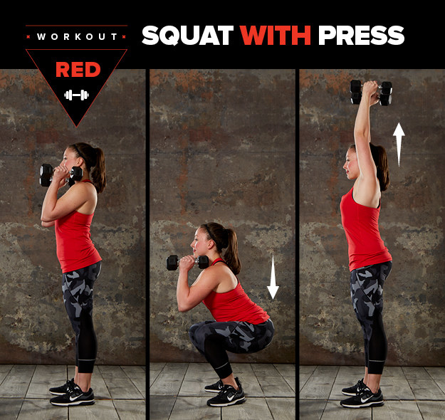Here's how to do a squat with press: