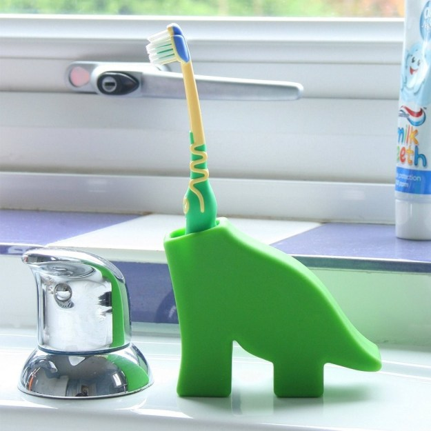 A dinosaur toothbrush holder for anyone who's seen Jurassic Park approximately 389 times.