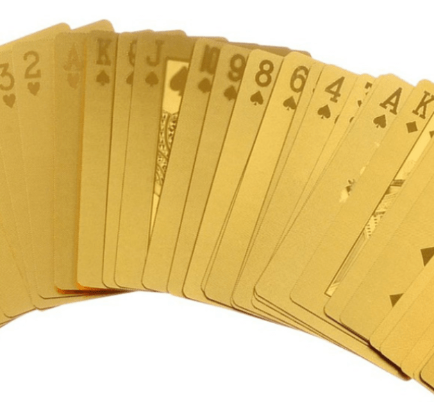 A set of golden playing cards that'll turn playing solitaire into an extravagant affair.