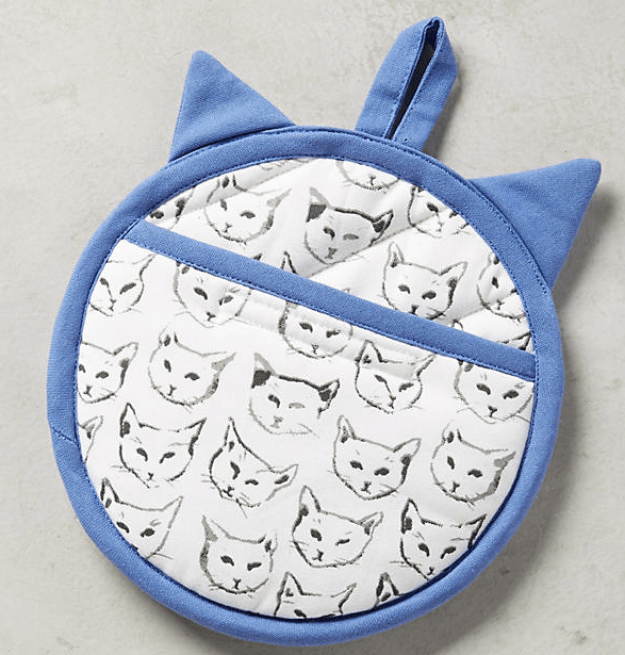 An illustrated pot holder for cat ladies.