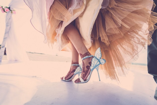 Even the bride's shoes fit the fairy tale wedding.