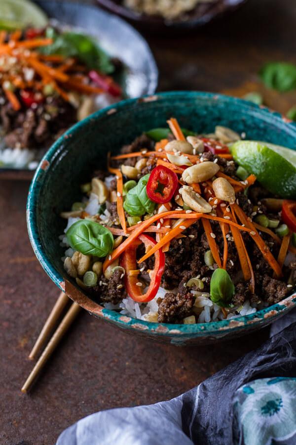 Thai Basil Beef and Lemongrass Rice Bowls