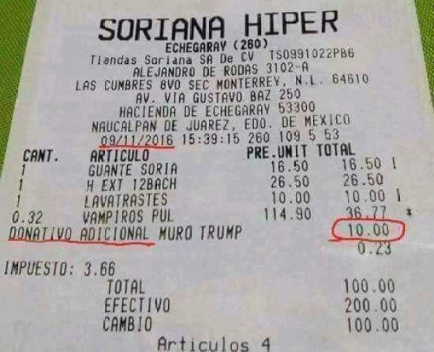 """This one shows a receipt with an added """"Trump wall donation."""""""