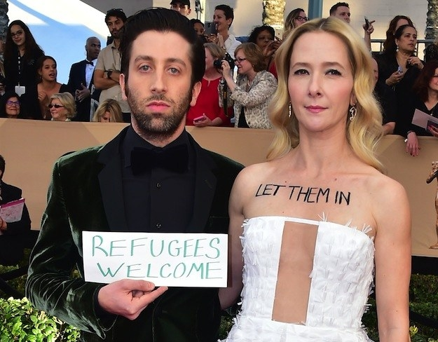"When Simon Helberg from The Big Bang Theory walked the red carpet for the SAG Awards carrying a sign that read, ""Refugees welcome,"" and his wife, actor Jocelyn Towne, had the words ""Let them in"" written on her chest."