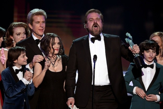 "And when Stranger Things star David Harbour gave a passionate speech, saying, ""We will, as per Chief Jim Hopper, punch some people in the face when they seek to destroy the the weak and the disenfranchised and the marginalized."""