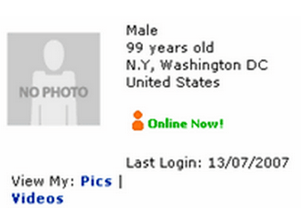 Listing your age as 99 years old on Myspace.