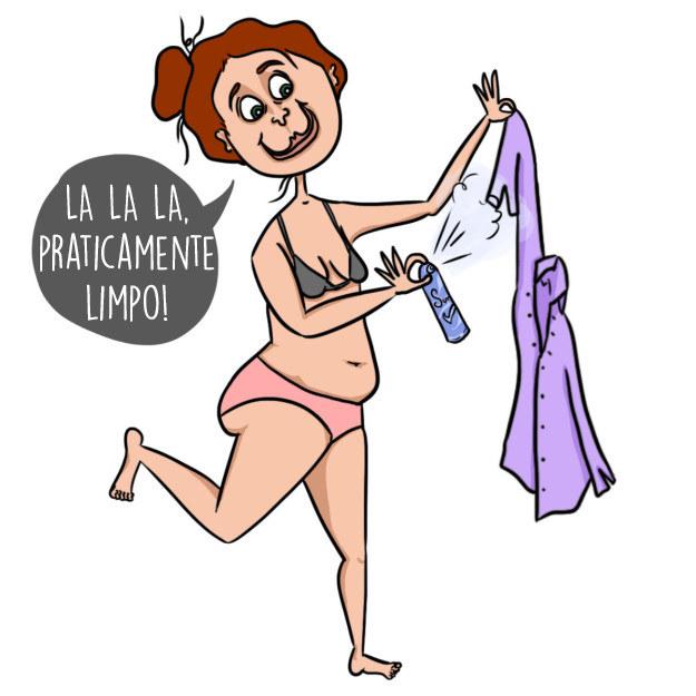Em vez de lavar as roupas que só estavam um pouquinho fedidas e você queria usar, borrifou um pouquinho de desodorante!