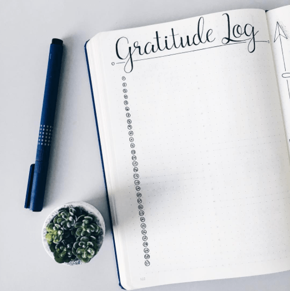 This minimalist layout to note one thing you're grateful for each day, which is great for your mental health: