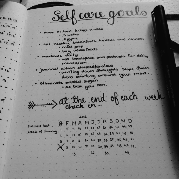 This page for setting and tracking self-care goals so they don't fall by the wayside: