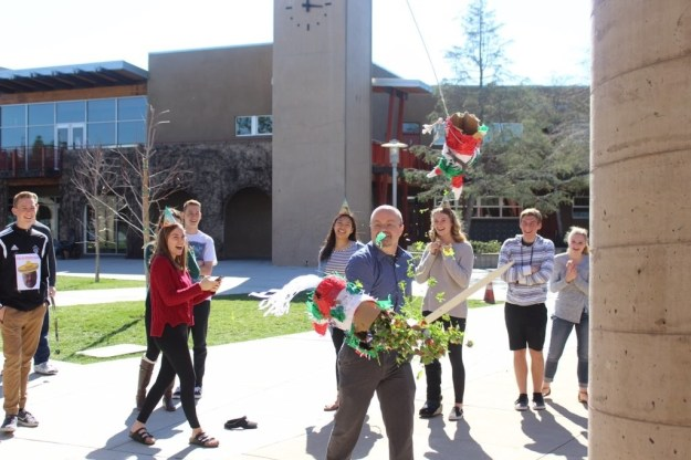 "Also, Endermann did end up attending the party with his class and it was ""a lot of fun,"" according to Mendoza. Here he is crushing his kale-filled piñata."