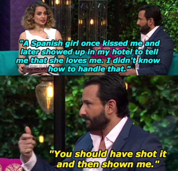 "Kangana Ranaut and Saif Ali Khan were last week's guests on Koffee With Karan. As part of the ""Koffee shots"" game, Karan Johar asked both actors if they've ever experimented sexually with anyone from the opposite gender."
