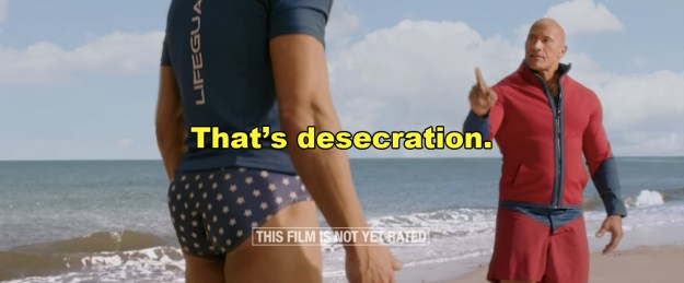 Clearly, The Rock is wrong in his assesment of Efron's attire.