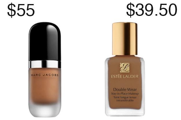 Ambas estas fundações de cobertura total são um pouco caro, mas Estee Lauder é cerca de US $ 15 menos do que Marc Jacobs.