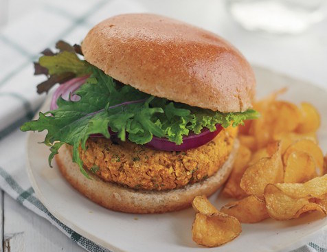 Specifically, red lentil, hemp, and sweet potato veggie burgers. Get the recipe here.