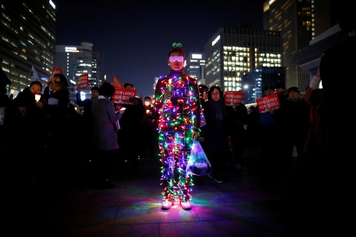 Others celebrated by wearing outfits covered in brightly colored LED bulbs.