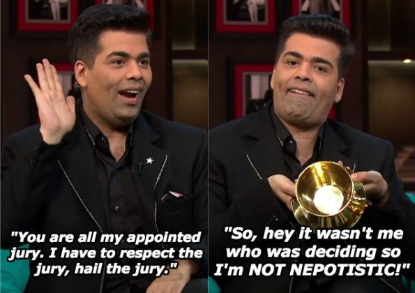 """And when Karan has something to say about Kangana Ranaut calling him a """"flag-bearer of nepotism""""."""