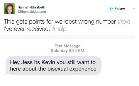 This person who got a text about a bisexual experience: