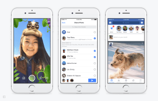 From left: Facebook Camera, Direct, and Stories.