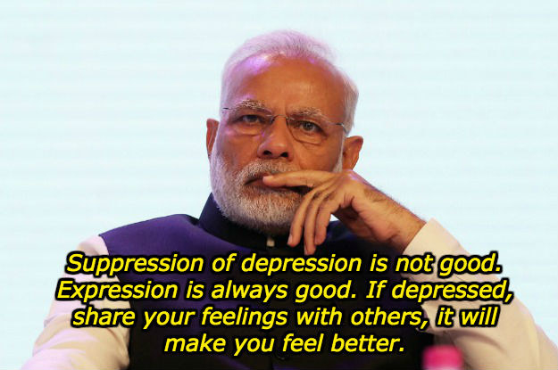 He went on to encourage Indians to seek help if they feel depressed.