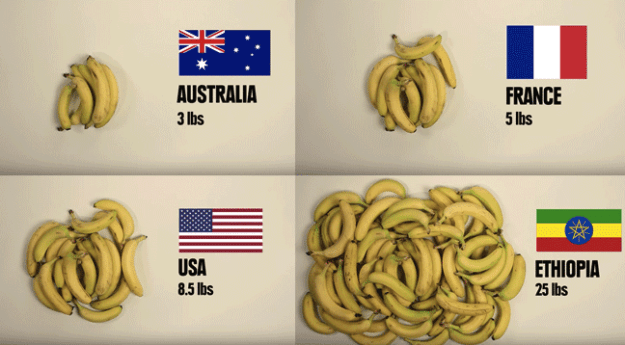 Here's how many bananas you can buy for $5 in different countries: