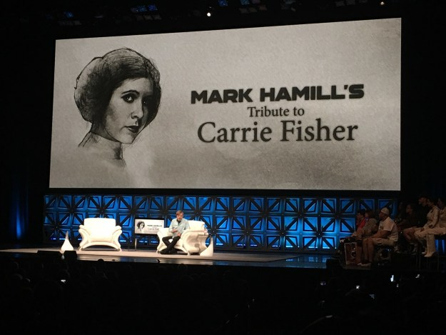 At the Star Wars 40th Anniversary Celebration in Orlando on Friday, Mark Hamill hosted a special panel in honor of the late Carrie Fisher, his Star Wars co-star and beloved friend.
