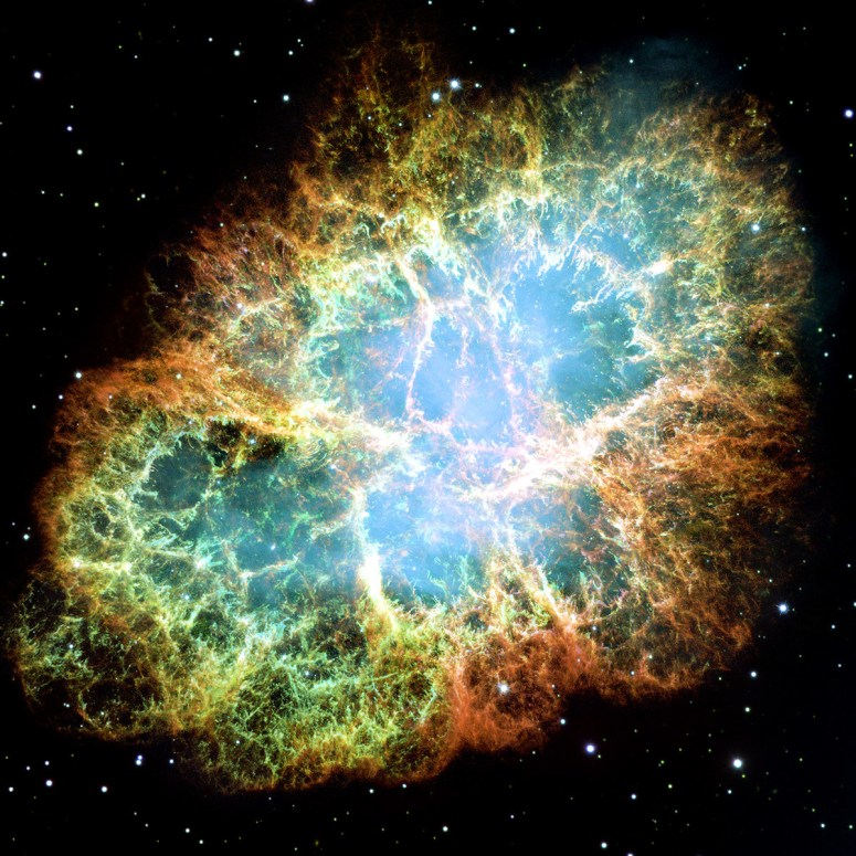 The Crab Nebula is a supernova remnant, all that remains of a tremendous stellar explosion. Observers in China and Japan recorded the supernova nearly 1,000 years ago, in 1054.