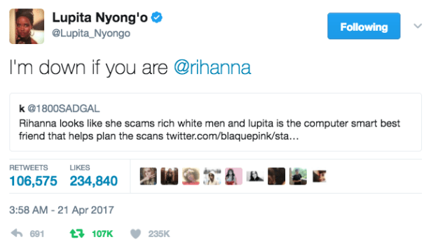 Then things took a turn when Lupita actually clocked the tweet and gave Rih a heads up.