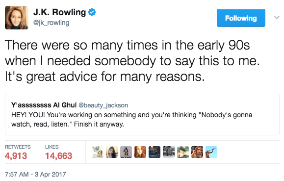 And this morning she took to Twitter to share advice with any aspiring writer going through similar struggles – or any struggles at all.