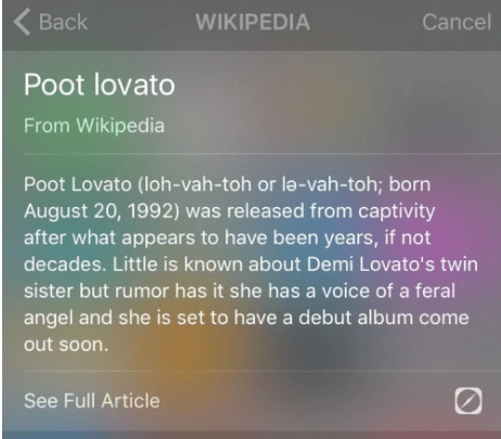 "Poot Lovato, according to her creator is, ""Demi's twin sister. She was locked in a basement her whole life. This picture was taken the first time she went outside."""