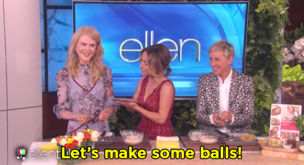 The first task was to make some meatballs, and it seemed like Nicole was not really feelin' Giada's ball jokes.