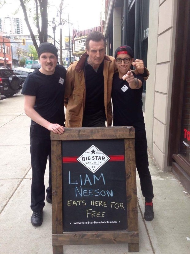 Employees at Big Star Sandwich in New Westminster had heard a rumour that Neeson was in the area filming the movie Hard Powder, coming out in 2018.Since there are several Liam Neeson superfans on staff, they decided to put a message on the sandwich board outside offering him a free meal on the house.