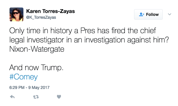As news broke of President Donald Trump firing FBI Director James Comey, many started tweeting that Nixon was the only other president to fire an FBI director.