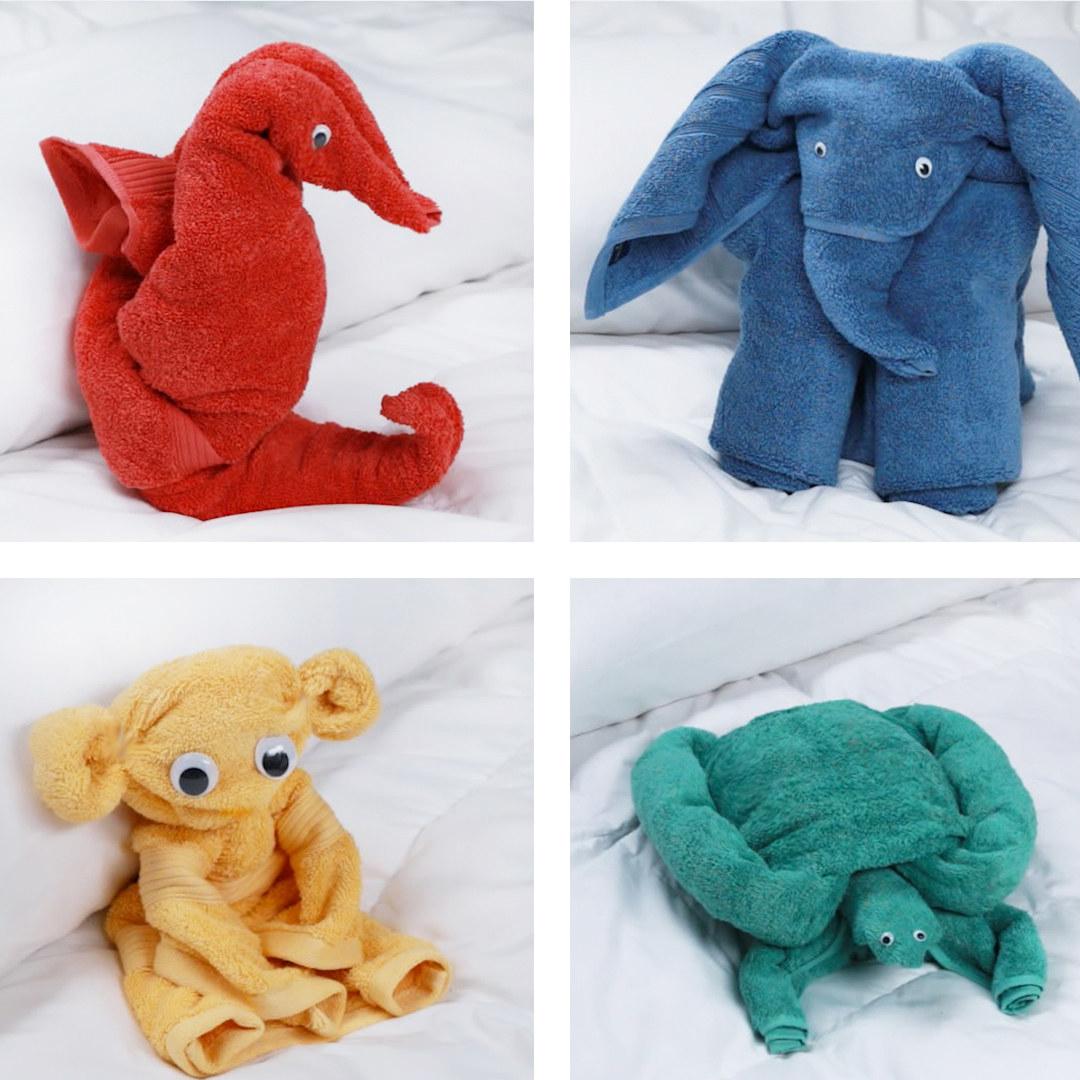 Fold Bath Towels Into Adorable Animals