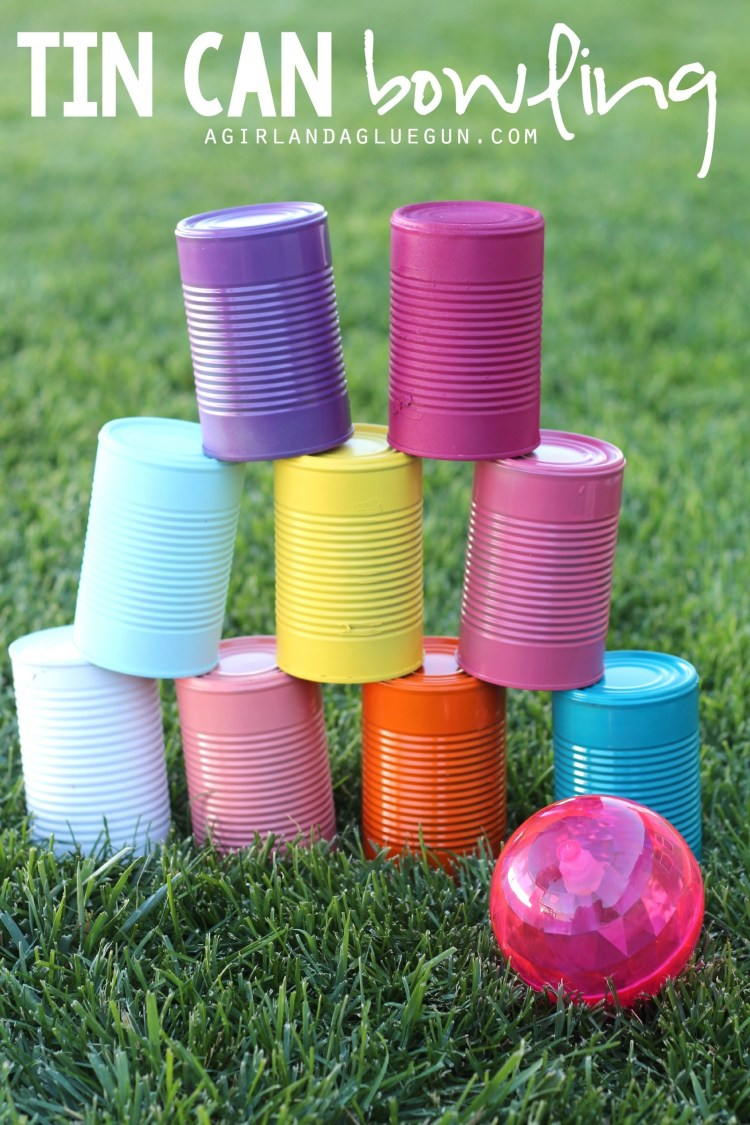 Once you've collected a few dozen tin cans, let your kids paint them their favorite colors and use them as bowling pins!Full instructions here.