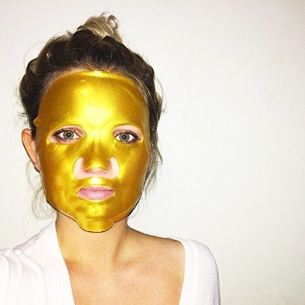 A customer review photo of them wearing the facemask