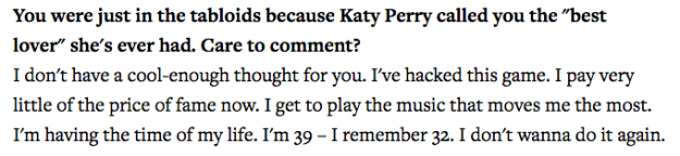 Well, in a Q&A with Rolling Stone magazine on Wednesday, John was asked about the ranking. This is what he said: