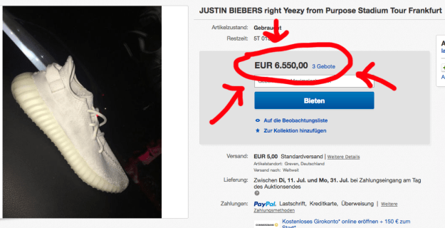 While the right Yeezy is currently the subject of a bidding war on German eBay. The single shoe is currently going for 6,500 euros (a little more than 7,400 USD). That's like a 2600% markup, just for smelling like a Canadian pop star's feet!