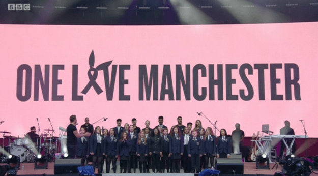 """One of the most emotional moments featured the pupils of Parrs Wood High School performing Grande's """"My Everything"""" with the singer."""