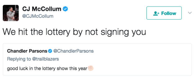When Chandler Parsons tried to come at the Blazers but CJ McCollum was having none of it:
